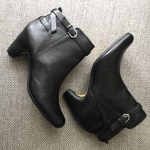 Sam Elderman Maddox Black Leather Ankle Boots